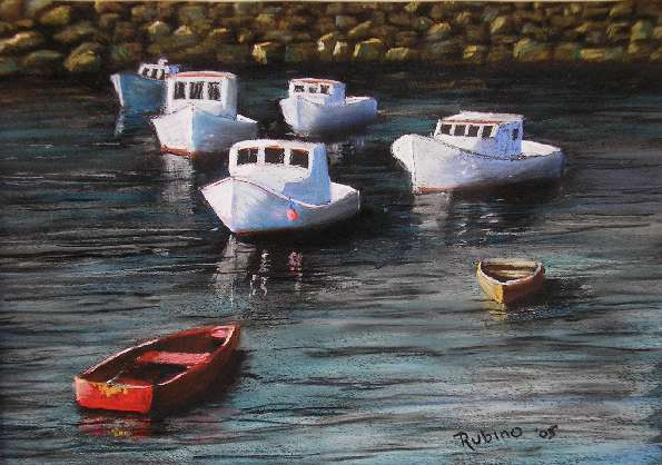 pastel of boats at Ogunquit Harbor, ME